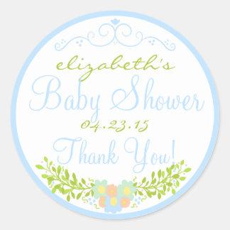Laurel-Blue Baby Shower Round Stickers