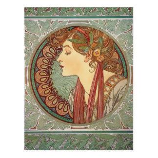 Laurel by Alphonse Mucha art nouveau postcard