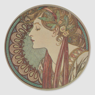 Laurel by Alphonse Mucha Classic Round Sticker