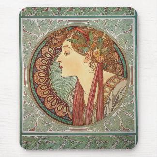 Laurel by artist Alphonse Mucha art nouveau Mouse Pad