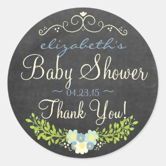 Laurel-Chalkboard Look Baby Shower Round Stickers
