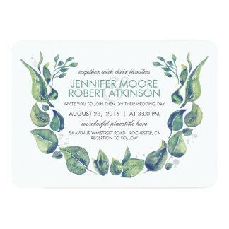 Laurel Greenery Wreath Watercolor Wedding Card