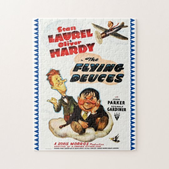"""Laurel & Hardy """"Flying Deuces"""" Advertising Poster Jigsaw Puzzle"""