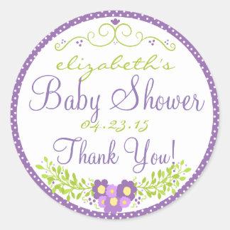 Laurel-Lavender Baby Shower Round Sticker