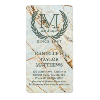 Laurel Leaf Classic Monogram Beautiful Marble