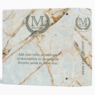 Laurel Leaf Classic Monogram Beautiful Marble Binders