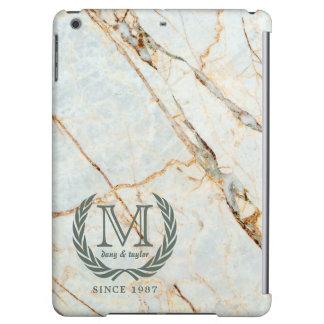 Laurel Leaf Classic Monogram Beautiful Marble iPad Air Cases