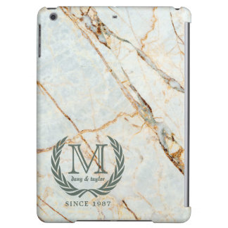 Laurel Leaf Classic Monogram Beautiful Marble iPad Air Cover
