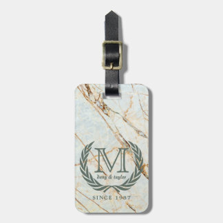 Laurel Leaf Classic Monogram Beautiful Marble Luggage Tag