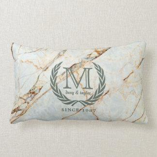 Laurel Leaf Classic Monogram Beautiful Marble Lumbar Pillow