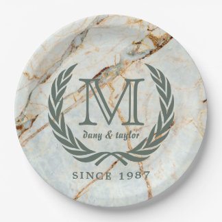 Laurel Leaf Classic Monogram Beautiful Marble Paper Plate