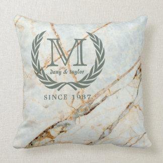Laurel Leaf Classic Monogram Beautiful Marble Throw Pillow