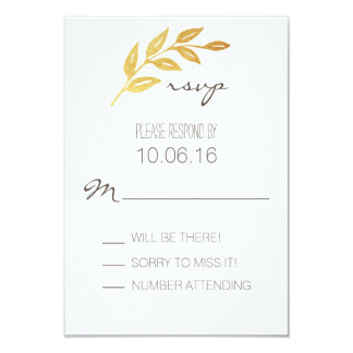 Laurel Leaf Gold Leaf RSVP Card