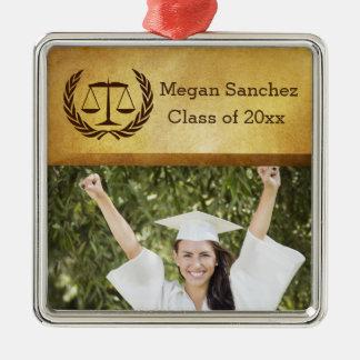 Laurel Leave Wreath | Scales of Justice Law School Silver-Colored Square Ornament