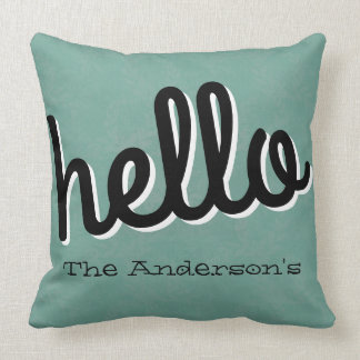 Laurel Pattern Hello Photo Porch Throw Pillow