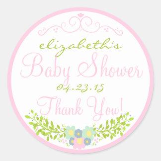Laurel-Pink Baby Shower Round Sticker