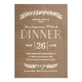 Laurel Potluck Dinner Burlap | Thanksgiving Card