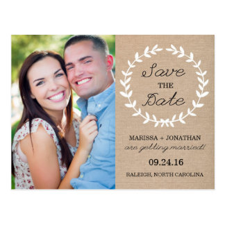 Laurel Save the Date Photo Postcard / Burlap
