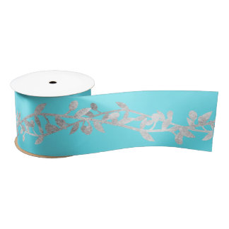 Laurel Silver Turquoise Blue Ocean Satin Ribbon