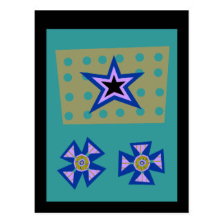 Laurel Star on Blue Postcard
