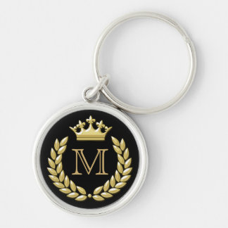 Laurel Wreath and Crown Silver-Colored Round Keychain