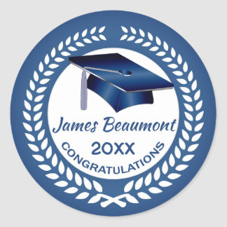 Laurel wreath, blue mortar Class of any year Classic Round Sticker