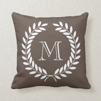 Laurel Wreath Dark Taupe Background Monogram Throw Pillow