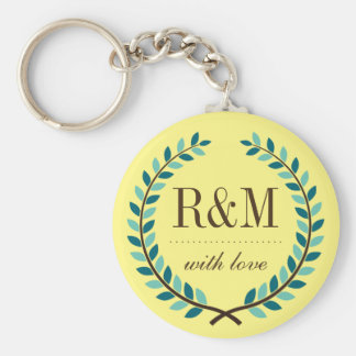 Laurel Wreath Monogram Keychain Yellow and Blue