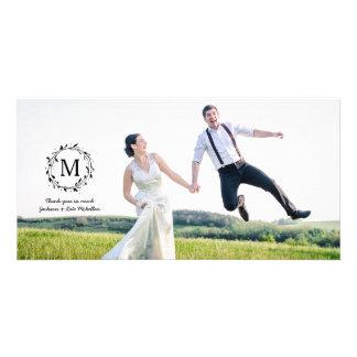 Laurel Wreath | Monogram Wedding Thank You Card