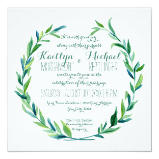 "Laurel Wreath Olive Leaf Branch Modern Square 5.25"" Square Invitation Card"