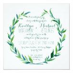 """Laurel Wreath Olive Leaf Branch Modern Square 5.25"""" Square Invitation Card"""