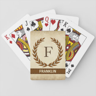Laurel Wreath on Parchment Monogram Initial F Playing Cards