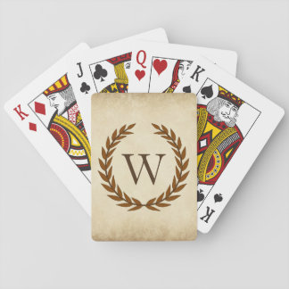 Laurel Wreath on Parchment Monogram Initial W Playing Cards