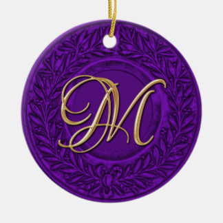 Laurel Wreath with Gold Monogram in Purple Ceramic Ornament