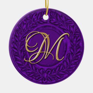 Laurel Wreath with Gold Monogram in Purple Round Ceramic Ornament