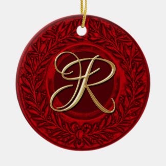 Laurel Wreath with Gold Monogram in Red Ceramic Ornament