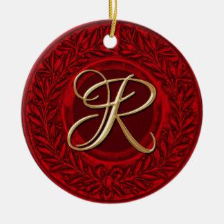 Laurel Wreath with Gold Monogram in Red Round Ceramic Ornament