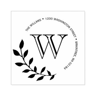 Laurels Leaves Monogram Return Address Rubber Stamp