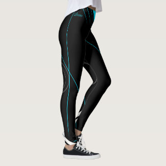 """Lauren"" Black on turquoise strips Leggings"