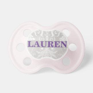 """Lauren"" Personalized Vintage Damask Pacifier"
