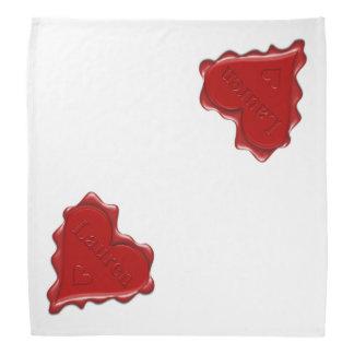 Lauren. Red heart wax seal with name Lauren Bandana