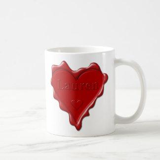 Lauren. Red heart wax seal with name Lauren Coffee Mug