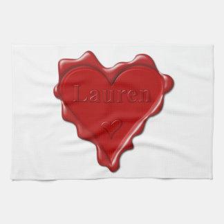 Lauren. Red heart wax seal with name Lauren Kitchen Towel