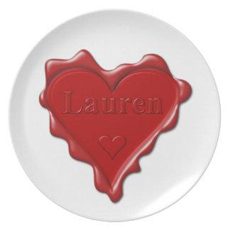 Lauren. Red heart wax seal with name Lauren Plate