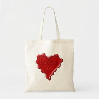 Lauren. Red heart wax seal with name Lauren Tote Bag