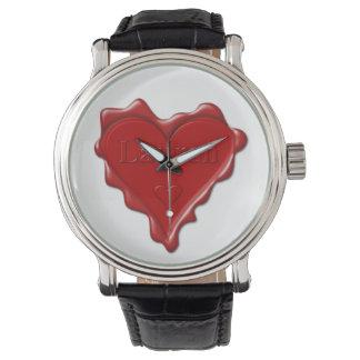 Lauren. Red heart wax seal with name Lauren Watch