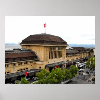 Lausanne railway station in Switzerland Poster