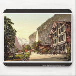 Lauterbrunnen Valley, street view with Staubbach W Mouse Pads