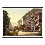 Lauterbrunnen Valley, street view with Staubbach W Postcard