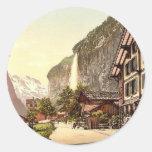 Lauterbrunnen Valley, street view with Staubbach W Round Stickers